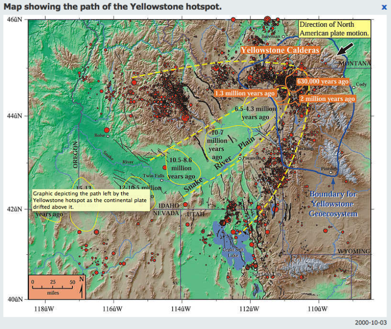 path of yellowstone hotspot