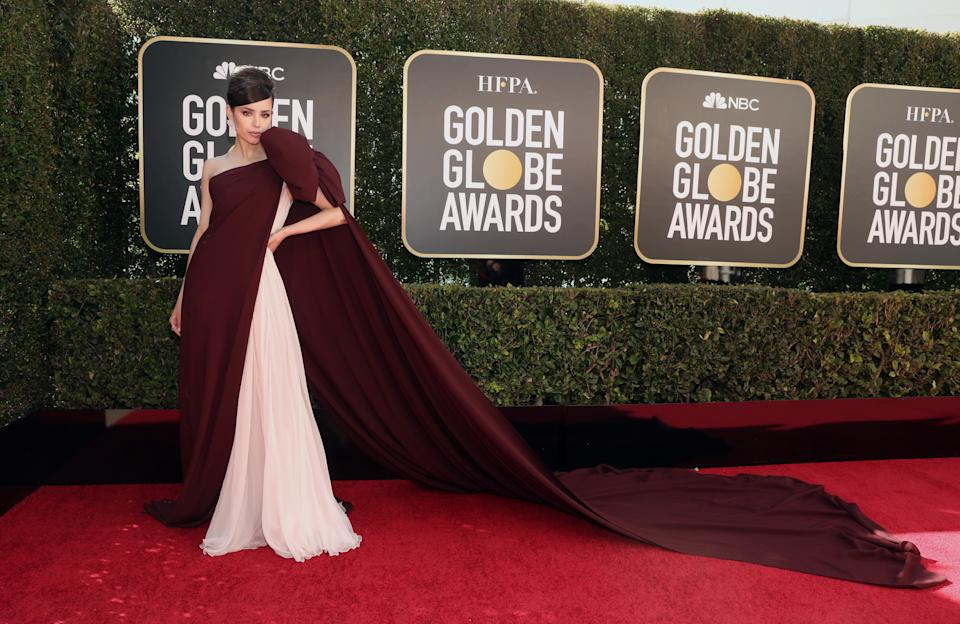 Sofia Carson attends the 78th Annual Golden Globe Awards held at The Beverly Hilton and broadcast on February 28, 2021 in Beverly Hills, California.