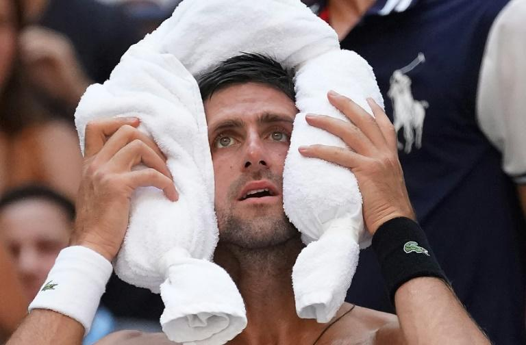 Cool look: Novak Djokovic feels the heat against  Joao Sousa