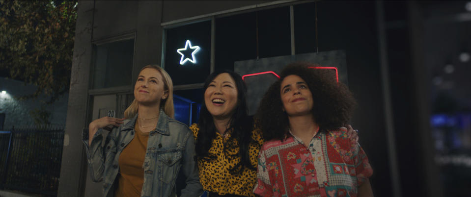"""This image released by Netflix shows Iliza Shlesinger, from left, Margaret Cho and Kimia Behpoornia in a scene from """"Good On Paper."""" (Netflix via AP)"""