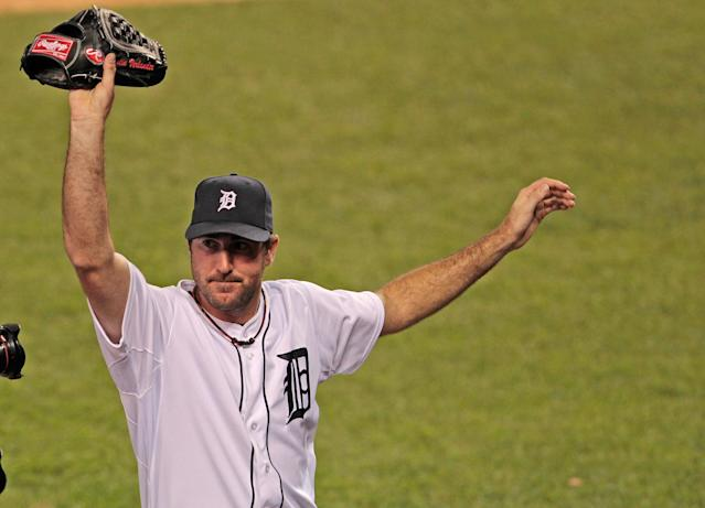 DETROIT, MI - MAY 18: Justin Verlander #35 of the Detroit Tigers acknowledges the fans after giving up one hit in the ninth inning during the game against the Pittsburgh Pirates at Comerica Park on May 18, 2012 in Detroit, Michigan. The Tigers defeated the Pirates 6-0. (Photo by Leon Halip/Getty Images)