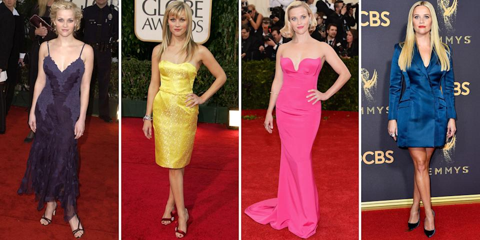 <p>Reese Witherspoon bursted onto the Hollywood scene in 1991. The actress has always kept it simple, feminine and impactful when it comes to her red carpet style. In honor of the acclaimed actress' 44th birthday, see her best sartorial hits. </p>