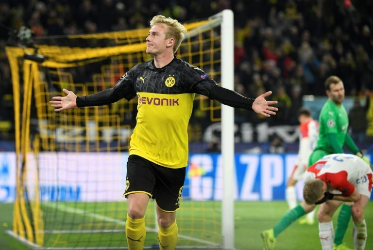 Julian Brandt's second goal in the Champions League helped Borussia Dortmund into the last 16 (AFP Photo/Ina Fassbender)