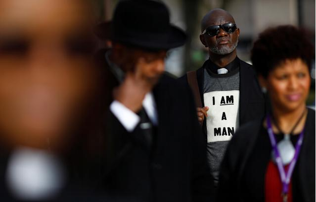 <p>Attendees are seen during a silent march and rally on the National Mall to mark the 50th anniversary of the assassination of slain civil rights leader Rev. Martin Luther King Jr. in Washington, April 4, 2018. (Photo: Eric Thayer/Reuters) </p>