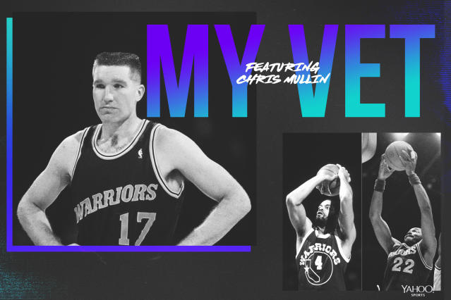 "Chris Mullin pays tribute to his <a class=""link rapid-noclick-resp"" href=""/nba/teams/golden-state/"" data-ylk=""slk:Warriors"">Warriors</a> veterans, including Greg Ballard and Rod Higgins. (Graphics by Yahoo Sports' Amber Matsumoto)"