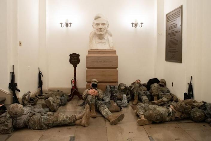 Hundreds of National Guard troops quarter in Capitol hallways, in 5 astonishing photos