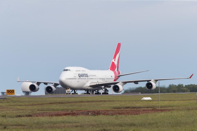 Picture of a Qantas flight carrying evacuees from overseas landing in Darwin, amid the coronavirus outbreak