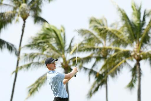 Australian Cameron Davis tees off on the seventh hole at Waialae Country Club in the second round of the US PGA Tour Sony Open
