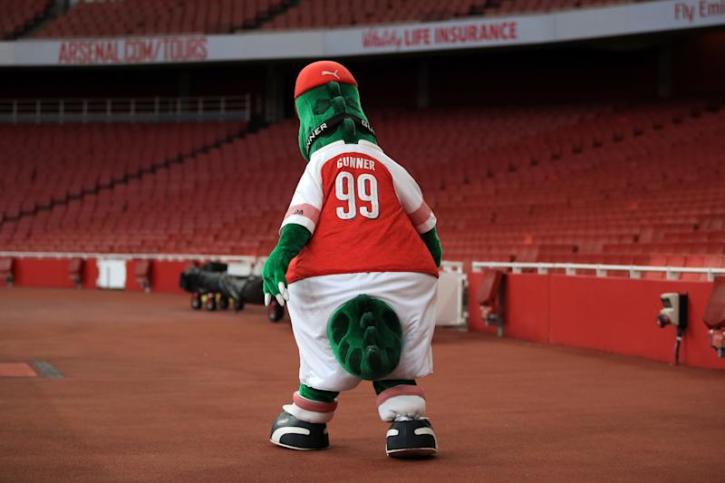 LONDON, ENGLAND - AUGUST 31: Gunnersaurus the Arsenal club mascot during the Premier League 2 match between Arsenal and Tottenham Hotspur at Emirates Stadium on August 31, 2018 in London, England. (Photo by Marc Atkins/Getty Images)