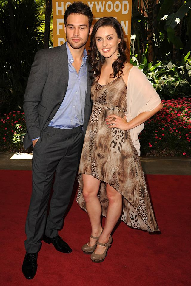 Ryan Guzman and Kathryn McCormick arrives at the Hollywood Foreign Press Association's 2012 Luncheon held at the Beverly Hill Hotel on August 9, 2012.