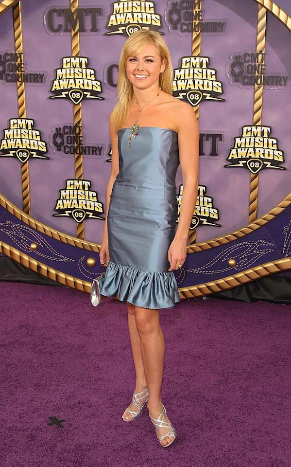"Laura Bell Bundy, who currently stars on Broadway as Elle Woods in ""Legally Blonde the Musical,"" kept things cute and simple in a gray strapless dress. Stephen Lovekin/<a href=""http://www.gettyimages.com/"" target=""new"">GettyImages.com</a> - April 14, 2008"