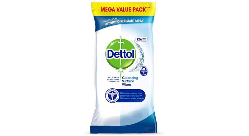 Buy now: Dettol Antibacterial Surface Cleaning Wipes, pack of 6 x 126 wipes. Was £36, now £14.99
