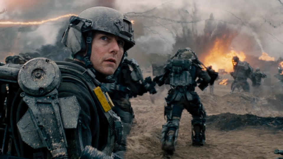 Tom Cruise suits up for battle in 'Edge of Tomorrow'. (Credit: Warner Bros)