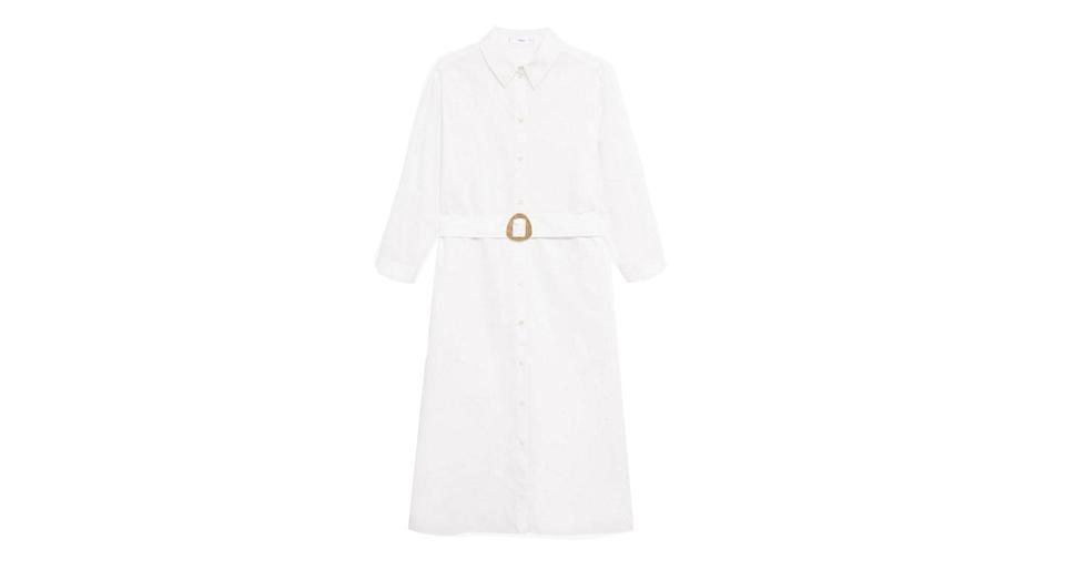 Cotton Belted Shirt Midi Dress