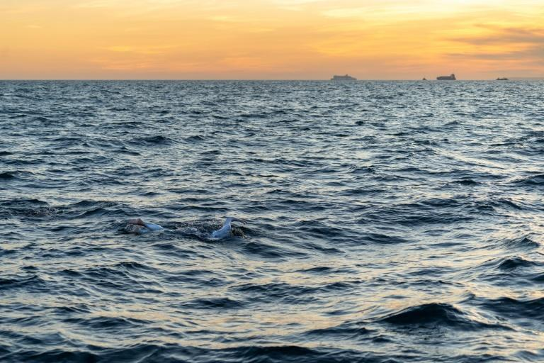 American swimmer Sarah Thomas off the coast of Dover, southern England during her record-breaking 54-hour swim