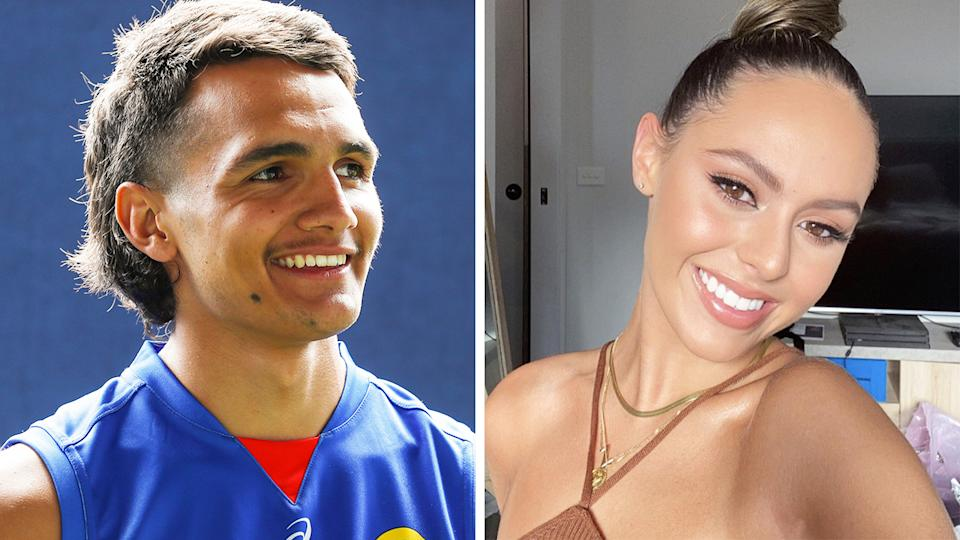 Western Bulldogs rookie Jamarra Ugle-Hagan has reportedly started dating Mia Fevola, daughter for former AFL star Brendan. Pictures: Getty Images/Instagram