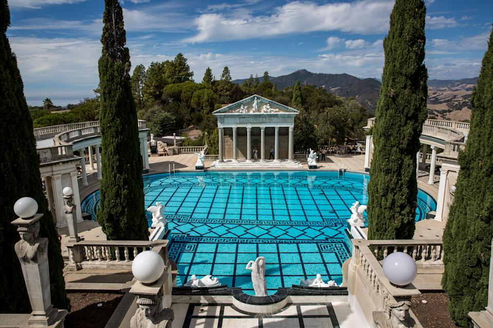 SAN SIMEON, CA - OCTOBER 4:  The recently restored Neptune Pool at Hearst Castle is viewed on October 4, 2018, in San Simeon, California. Hearst Castle, built by newspaper publisher William Randolph Hearst and located on California's remote Central Coast overlooking the Pacific Ocean, was constructed between the years 1919 and 1947.  The historical landmark was donated to the State in 1957. (Photo by George Rose/Getty Images)