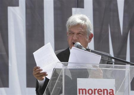 Leftist Lopez Obrador addresses supporters during a protest against the privatization of the state-oil monopoly Pemex in Mexico City
