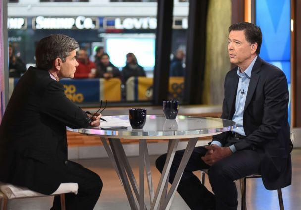 PHOTO: ABC News chief anchor George Stephanopoulos speaks to James Comey on 'Good Morning America,' April 17, 2018. (Paula Lobo/ABC)