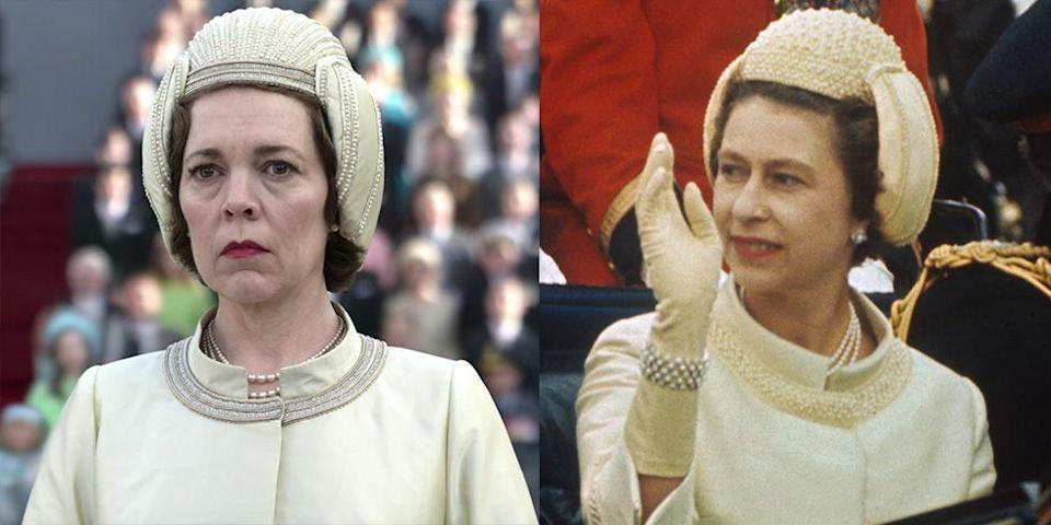<p>No one could ever forget Queen Elizabeth's outfit for Prince Charles's investiture. The monarch wore a helmet-shaped fascinator, embellished with pearls and rhinestones. She paired the unusual topper with a matching pale yellow jacket, as did the show.</p>