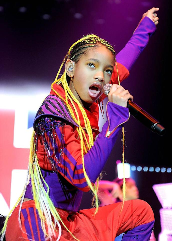 "Bieber's current tour mate, 10-year-old Willow Smith, rocked brand new, fluorescent yellow hair extensions at her Manchester, England, performance on Monday. The ""Whip My Hair"" singer can now whip it real good. Shirlaine Forrest/<a href=""http://www.wireimage.com"" target=""new"">WireImage.com</a> - March 21, 2011"