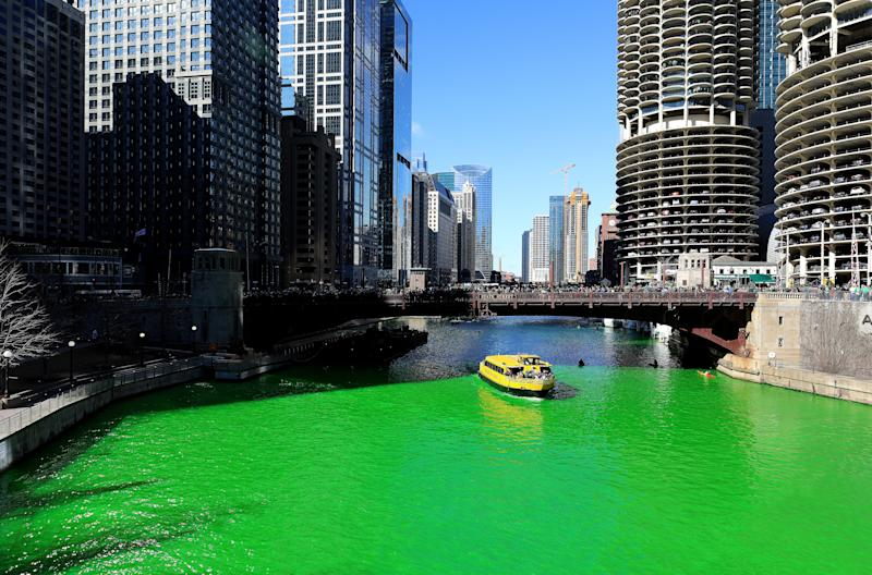 CHICAGO - MARCH 16: The Chicago River, after members of Plumbers Local 130 U.A. poured environmentally safe orange powder along the Chicago River turning it green for St. Patrick's Day in Chicago, Illinois on March 16, 2019. (Photo By Raymond Boyd/Getty Images)