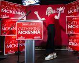 Catherine McKenna, Liberal candidate for Ottawa Centre, waves as she arrives on stage with her daughter Isabelle, 13, at her campaign party after being re-elected, on election day of the 2019 federal election, in Ottawa, on Monday, Oct. 21, 2019. THE CANADIAN PRESS/Justin Tang