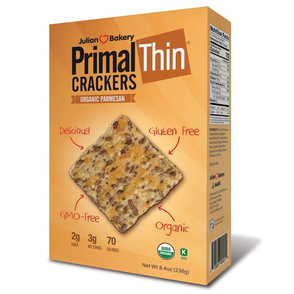 """<p>Looking for a vehicle for dips? These <a href=""""https://www.popsugar.com/buy/Primal-Thin-Crackers-408747?p_name=Primal%20Thin%20Crackers&retailer=amazon.com&pid=408747&price=13&evar1=fit%3Aus&evar9=45727565&evar98=https%3A%2F%2Fwww.popsugar.com%2Ffitness%2Fphoto-gallery%2F45727565%2Fimage%2F45727572%2FPerfect-Paid-Hummus&list1=shopping%2Camazon%2Chealthy%20snacks%2Csnacks%2Clow-carb&prop13=mobile&pdata=1"""" class=""""link rapid-noclick-resp"""" rel=""""nofollow noopener"""" target=""""_blank"""" data-ylk=""""slk:Primal Thin Crackers"""">Primal Thin Crackers</a> ($13) will satisfy your craving.</p>"""
