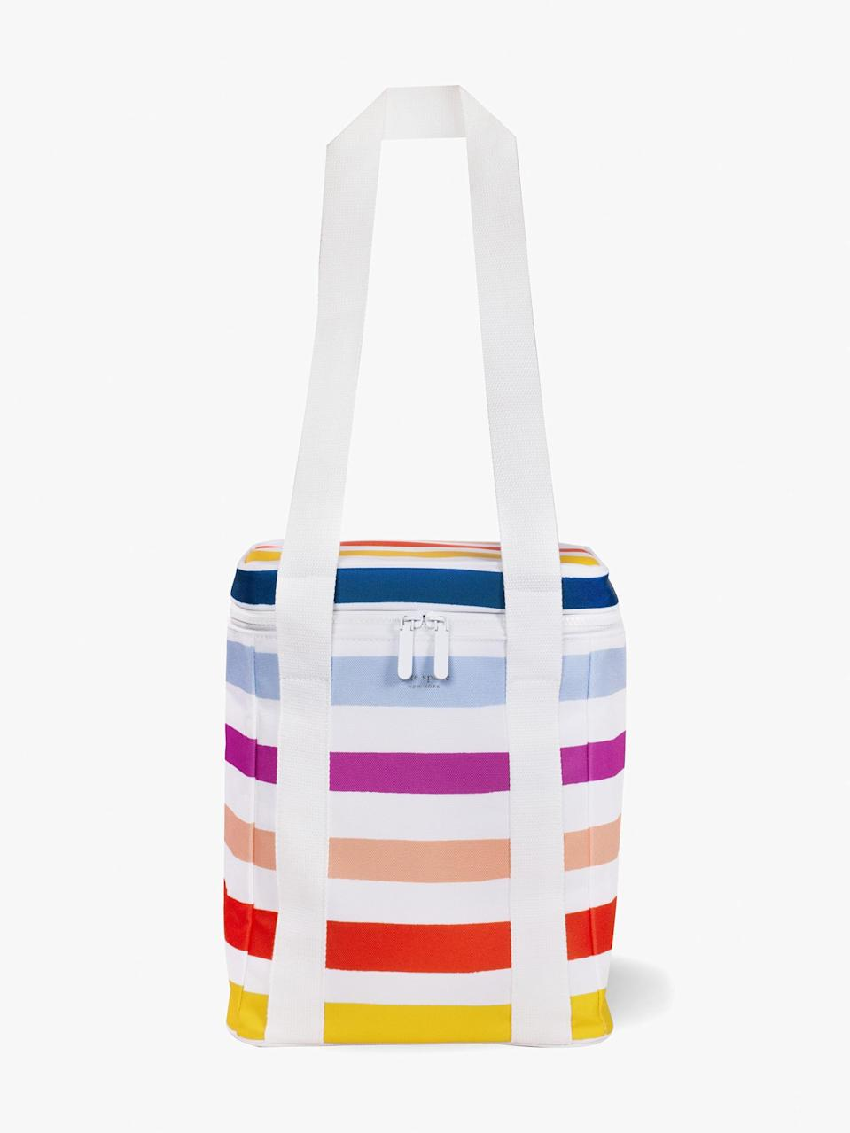 <p>I can definitely see myself putting a bottle or two in this <span>Kate Spade New York Candy Stripe Wine Picnic Cooler Bag</span> ($37) and taking it to the beach. It even has elastic straps inside to hold the bottles in place.</p>