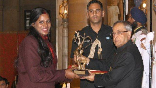 Geethu Anna Rahul in 2014 became the first women's basketball player to win the Arjuna Award in over two decades. Image: Twitter/@GMSRailway