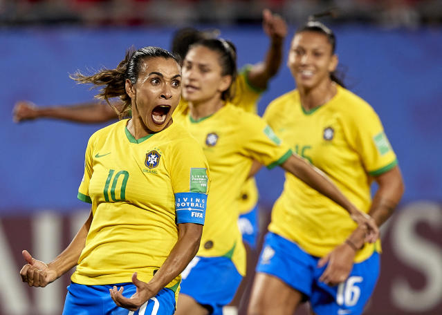 Marta Vieira da Silva of Brazil celebrating their team's first goal during the 2019 FIFA Women's World Cup France group C match between Italy and Brazil at Stade du Hainaut on June 18, 2019 in Valenciennes, France. (Photo by Quality Sport Images/Getty Images)