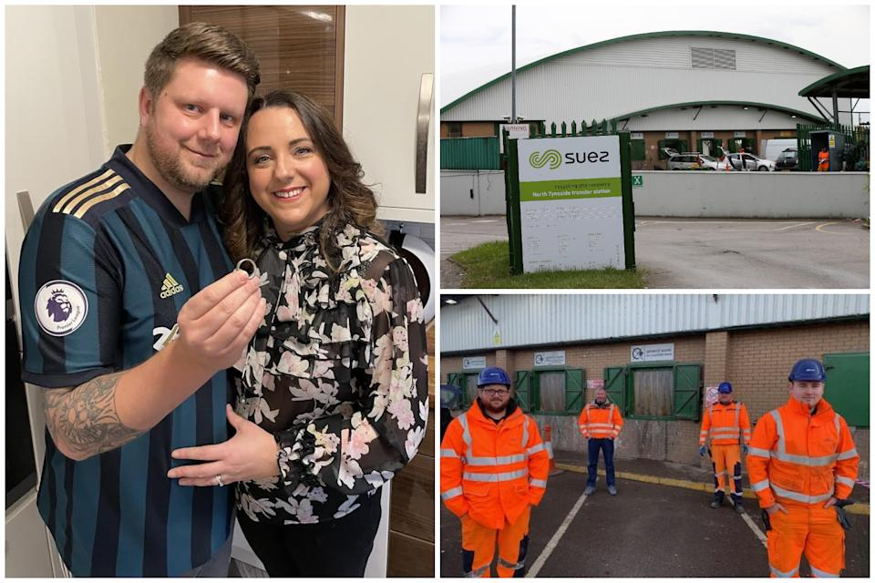 James and Lara have praised staff after workers found the former's missing wedding ring under a mound of rubbish. (Reach)