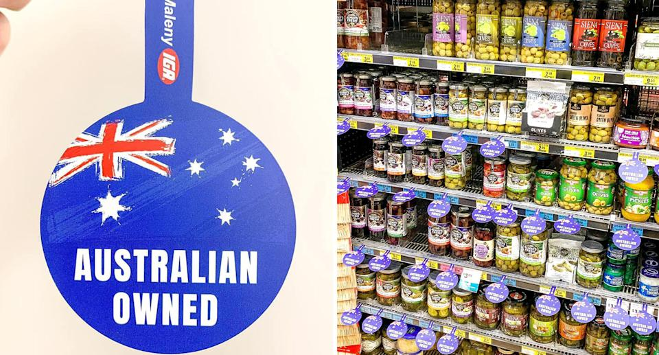 """This """"Australian owned"""" label (left) has started appearing on a Sunshine Coast IGA shelf (right), sparking calls for Woolworths and Coles to do the same."""