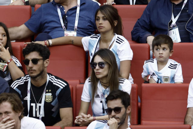 <p>Antonella Roccuzzo, wife of Argentina's Lionel Messi, in the stands with their sons Mateo Messi and Ciro Messi attend the Football World Cup, France vs Argentina at the Kazan Arena, in Russia, on June 30, 2018. (Photo by Mehdi Taamallah / Nurphoto) </p>
