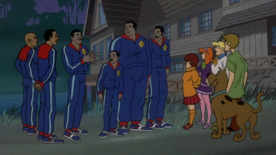 The Harlem Globetrotters in 'The New Scooby-Doo Movies'. (Credit: CBS)