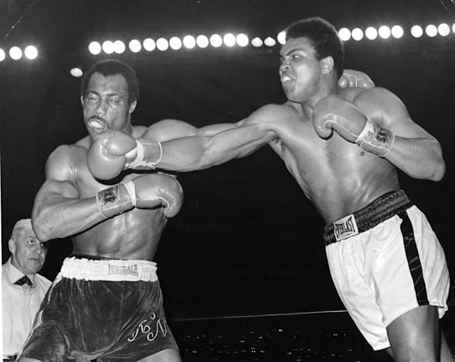 Muhammad Ali (R) connects a right punch against Ken Norton during the fight at the Sports Arena on March 31,1973 in San Diego,California. Ken Norton won the NABF heavyweight title. (Photo by: The Ring Magazine via Getty Images)