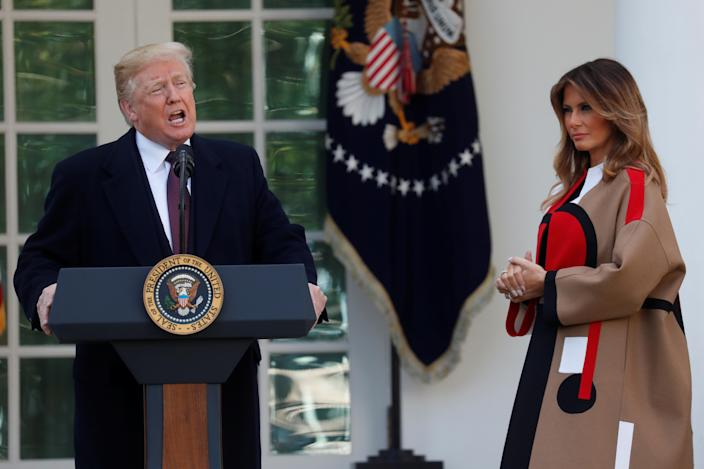 President Trump speaks next to first lady Melania Trump during the 71st presentation of the National Thanksgiving Turkey in the Rose Garden of the White House in Washington, D.C., on Nov. 20, 2018. (Photo: Leah Millis/Reuters)
