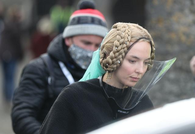 Jodie Comer at Cahir Castle in Co Tipperary on the set of the Last Duel, an historical drama-thriller film directed by Ridley Scott