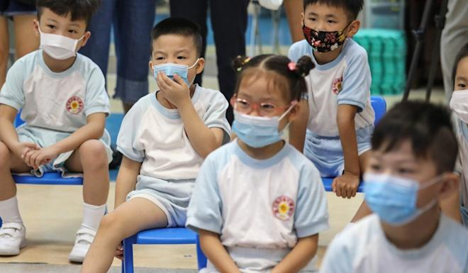 Kindergarten students in Shau Kei Wan in June, before the third wave of infections struck. Photo: Nora Tam