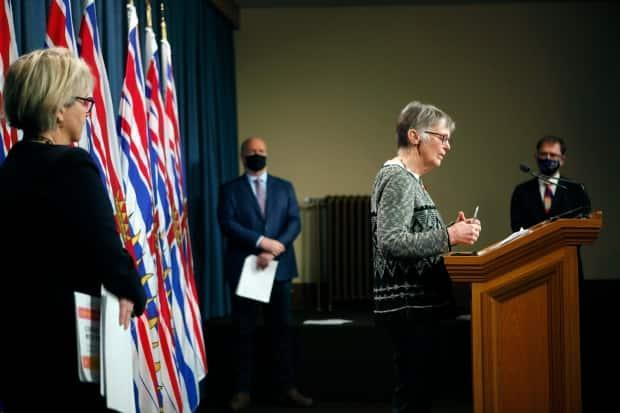 Dr. Penny Ballem, who is leading B.C.'s immunization program, said the 1,400 furloughed workers being hired will focus on non-clinical work, including managing the thousands of people who are expected to stream through mass immunization clinics. (Chad Hipolito/Canadian Press - image credit)