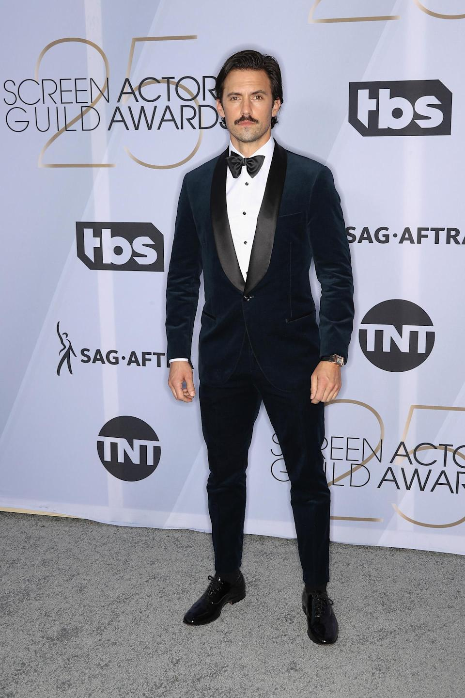 <p><em>This Is Us</em> star Milo Ventimigilia was sharp in a classic tux at the 2019 Screen Actors Guild Awards in Los Angeles. (Photo: Getty Images) </p>