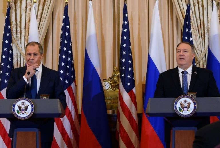 US Secretary of State Mike Pompeo at a press conference with Russian Foreign Minister Sergei Lavrov, whose country has longstanding ties with North Korea