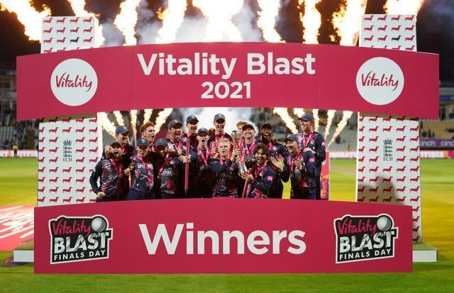 Kent Spitfires captain Sam Billings and team-mates celebrate after a 25-run win over Somerset in the Vitality Blast Final