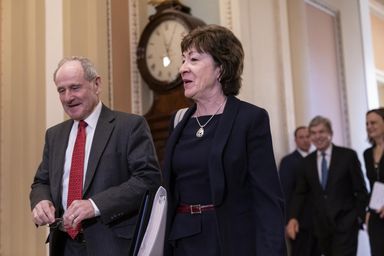 Sen. Jim Risch, R-Idaho, chairman of the Senate Foreign Relations Committee, left, walks with Sen. Susan Collins, R-Maine, as they arrive at the Senate for the start of the impeachment trial of President Donald Trump on charges of abuse of power and obstruction of Congress, at the Capitol in Washington, Tuesday, Jan. 21, 2020. (Photo: J. Scott Applewhite/AP)