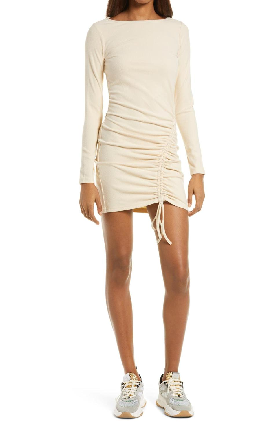 <p>Style this <span>4th and Reckless Sasha Ruched Hem Long Sleeve Stretch Cotton Jersey Dress</span> ($33, originally $55) with chunky sneakers for an effortlessly cool look.</p>