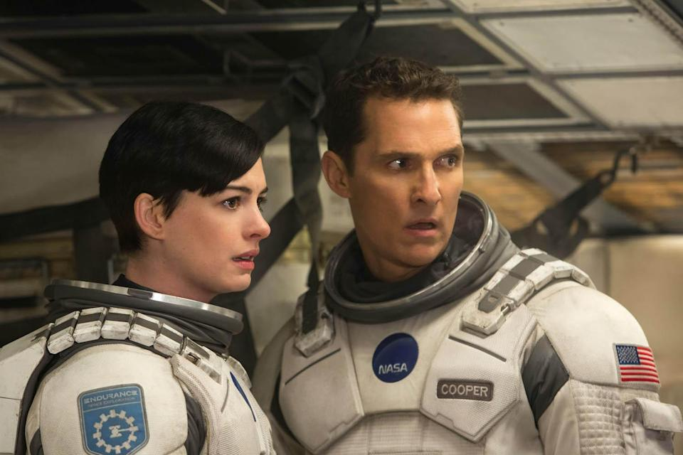 Left to right: Matthew McConaughey and Anne Hathaway in INTERSTELLAR, from Paramount Pictures and Warner Brothers Entertainment.