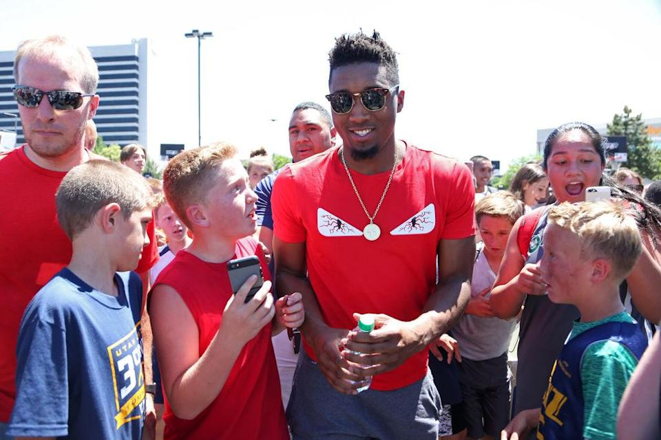 Donovan Mitchell wants to bask in the love of the people of Utah, especially if the grill situation is right and there's a minimum of four great pool floats. (Getty)
