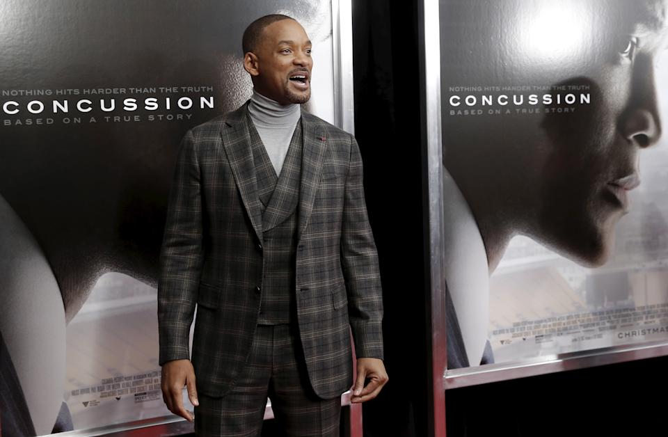 Actor Will Smith poses as he arrives for the New York premiere of the film