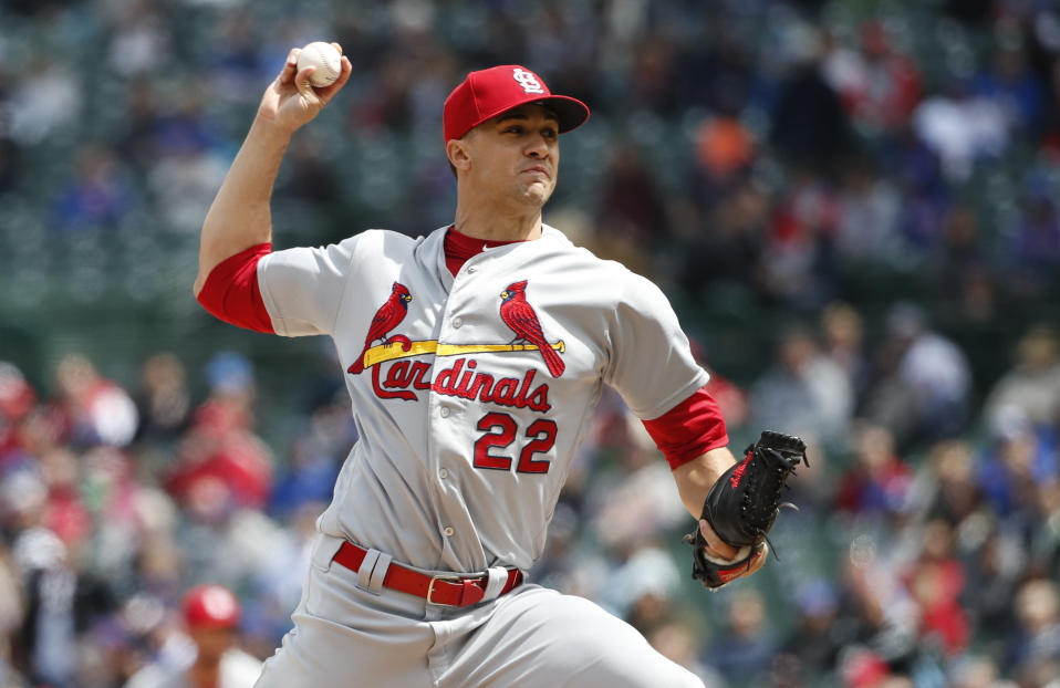 St. Louis Cardinals starting pitcher Jack Flaherty delivers against the Chicago Cubs during the first inning of a baseball game, Friday, May 3, 2019, in Chicago. (AP Photo/Kamil Krzaczynski)