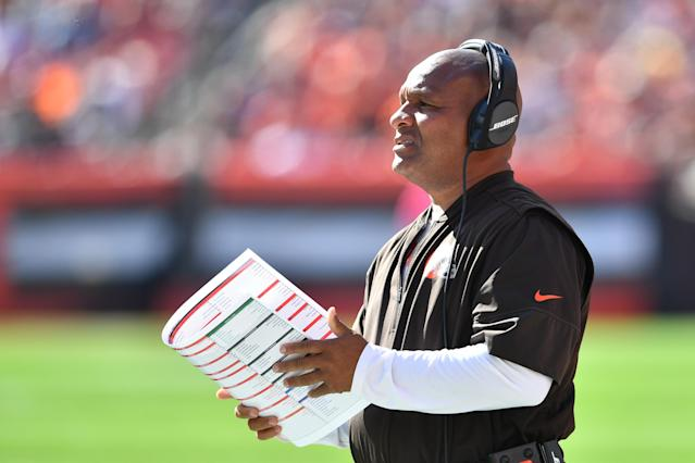 "<a class=""link rapid-noclick-resp"" href=""/nfl/teams/cle"" data-ylk=""slk:Cleveland Browns"">Cleveland Browns</a> coach Hue Jackson fulfilled his promise on Friday and jumped into Lake Erie after the Browns went 0-16 last season. (Getty Images)"